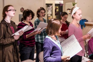 Girls'Choir learning a new song